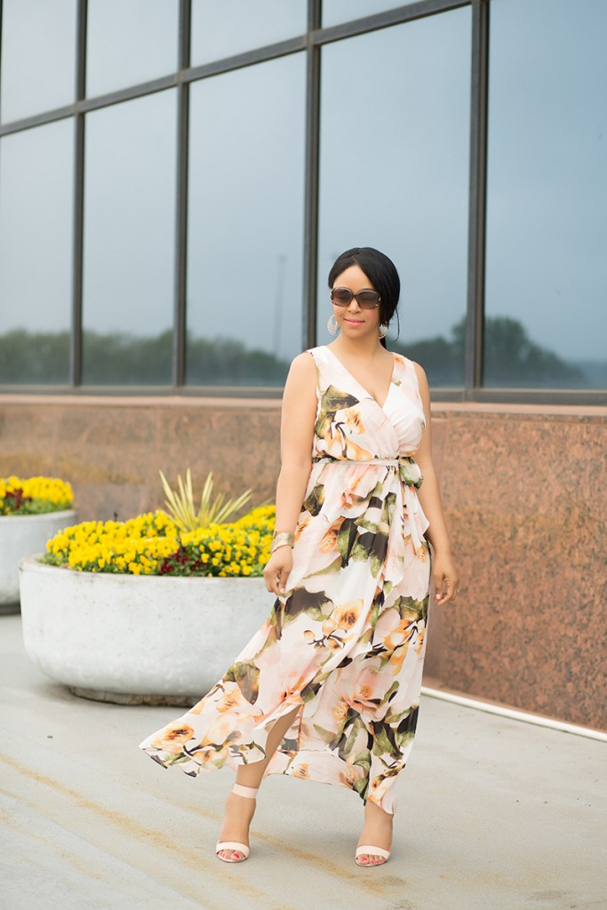 What's Haute / What I'm Wearing: Sangria Chaya Floral Faux-Wrap Maxi Dress, Leonello Borghi Luna Medium Satchel, Gold Women's Cuff Bracelet with Casted Leaf from Target, French Connection Katrin Dress Sandal, outfit of the day