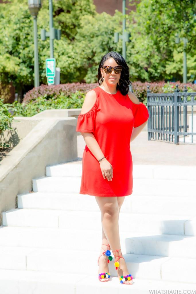 Zara Red Cold Shoulder Dress and DIY Tassel Pom Pom Sandals