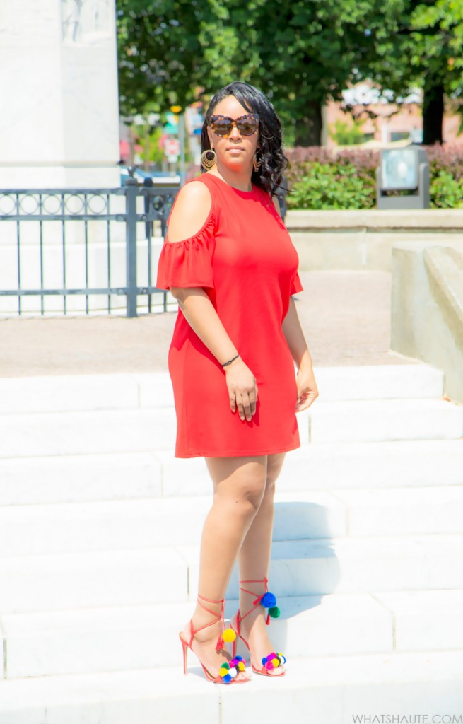 Zara Red Cold Shoulder Dress and DIY Tassel Pom Pom Sandals