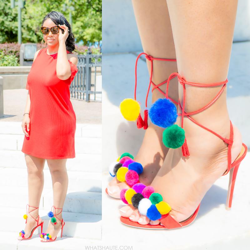 Zara Red Cold Shoulder Dress and DIY Pom Pom Tassel Sandals