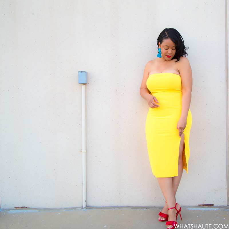 A Bright, Sunshiny Birthday Dress - What I'm Wearing: Jay Godfrey yellow Sunflower Thompson Dress c/o Rent the Runway, H&M turquoise Earrings with Tassels, Zara red patent leather bow peep toe heels