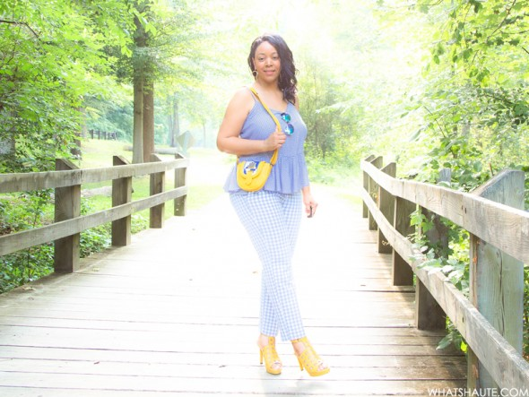 Gingham and Glow: What I'm Wearing - Blue Mirrored Aviator Sunglasses, Old Navy Gingham Peplum Cami, Old Navy Gingham Pants, West/Feren Berkshire Bag, Rockport Caged Sandals