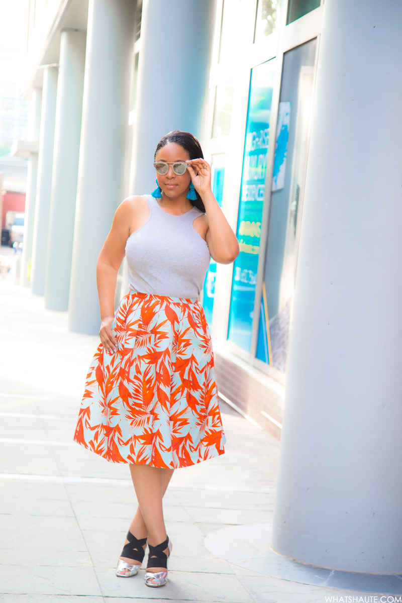 Last Days of Summer, What I'm Wearing: Racer Fronts & Palm Prints - AQS Jolene Wayfarer Sunglasses, H&M Tassel earrings, H&M Racer Front Tank, H&M Patterned Skirt, Prada Elastic Crisscross Specchio Sandal in Silver