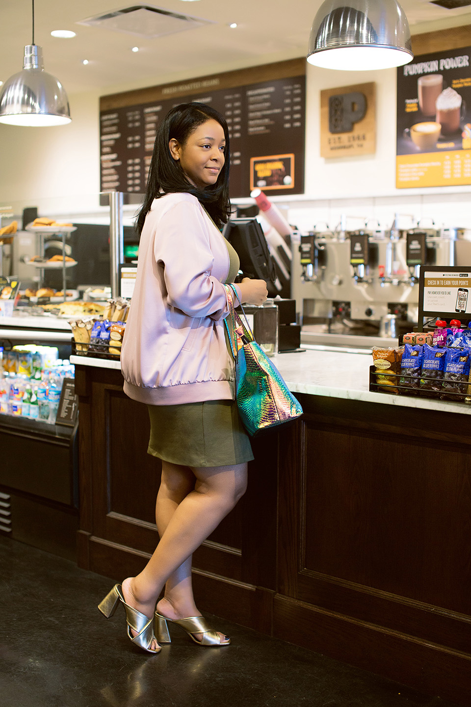 My Day to Night Style in D.C., With Topshop, Ally Aviator Sunglasses, Wrap Jersey Dress, pink Satin Bomber Jacket, Comet Large Tote Bag by Skinny Dip, gold RIOT Flared Mules, coffee shop