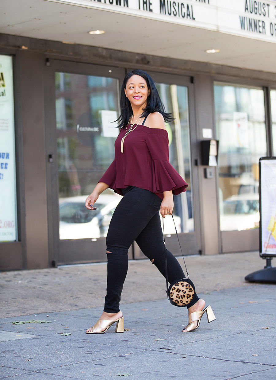 My Day to Night Style in D.C., With Topshop, Moto Black Ripped Leigh Jeans, Tassel Linked Collar Necklace, Flute Sleeve Bardot Top, gold RIOT Flared Mules, leopard print Suede Circle Cross Body Bag