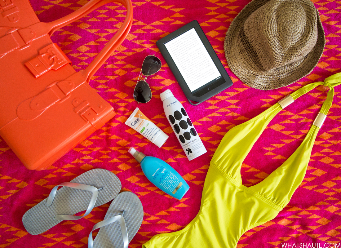 Last Call for Summer: 10 Things to Bring to the Beach this Labor Day Weekend: beach towel, Great Bag Model M tote beach bag, Ray-Ban 'Large Original Aviator' 62mm Sunglasses, CeraVe Sunscreen Body Lotion with SPF 50, raffia fedora, OGX Moroccan Sea Salt Spray, NOOK eReader, Neon Monokini sexy swimsuit, Sunscreen Spray, CeraVe Facial Moisturizing Lotion AM with SPF 30, metallic Flip Flops