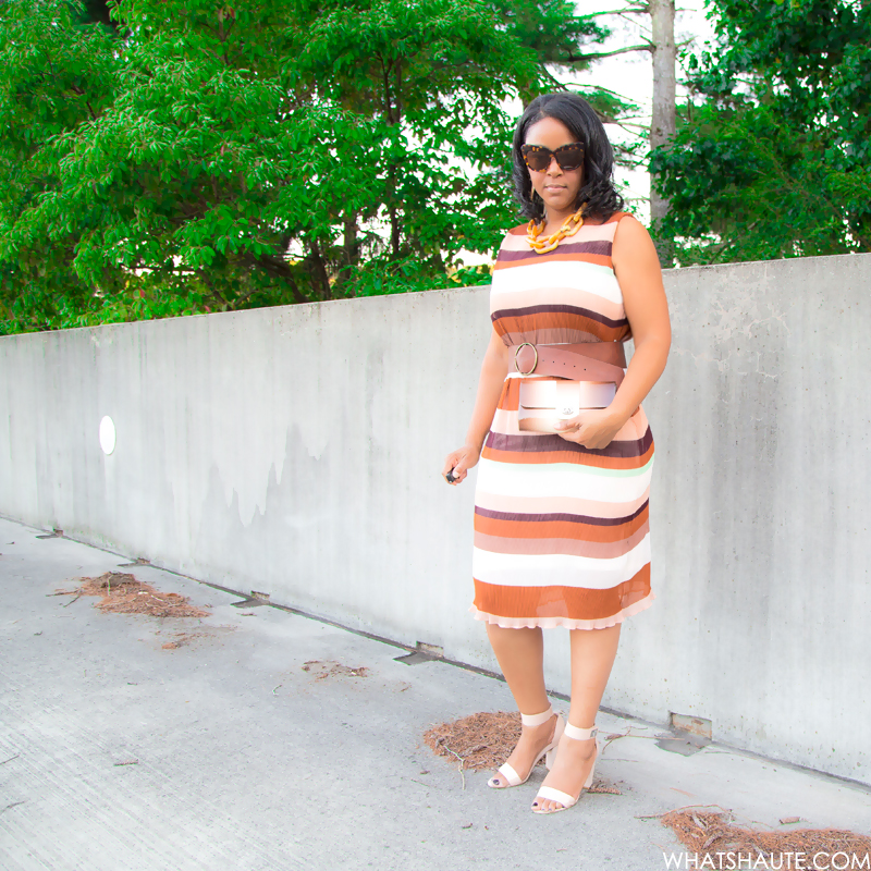 Thoughts on #TeacherBae + Dressing Your Body Type, What I'm Wearing, Ben Amun tortoise Resin Link Necklace, H&M striped Pleated dress, Julia Cocco' ombre clutch, French Connection 'Katrin' Sandal, House of Harlow 1960 Chelsea sunglasses