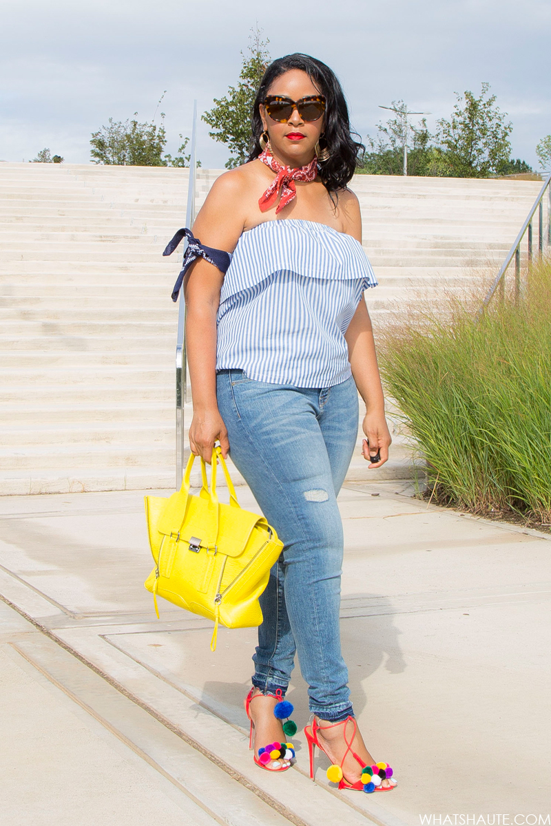 Transitional Piece: the Strapless Flounced Top, What I'm Wearing: H&M Strapless Flounced Top, House of Harlow Chelsea Cat Eye Sunglasses, Bandanas, Women's High-rise Straight Leg Jeans Medium Wash – Mossimo™, 3.1 Phillip Lim Medium Pashli Satchel in yellow, Pom Pom Sandals