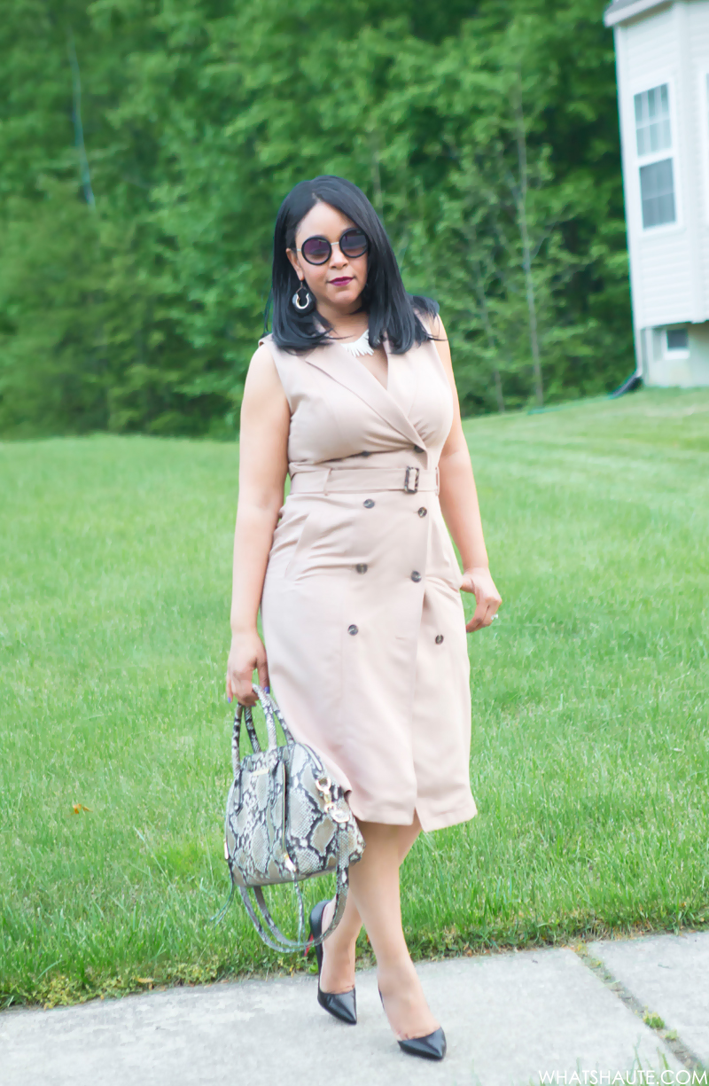 What I'm Wearing: White House Black Market Sleeveless Trench Dress, Women's Round Sunglasses, Christian Louboutin Pigalle Pumps, Mossimo Women's Snake Print Satchel Handbag