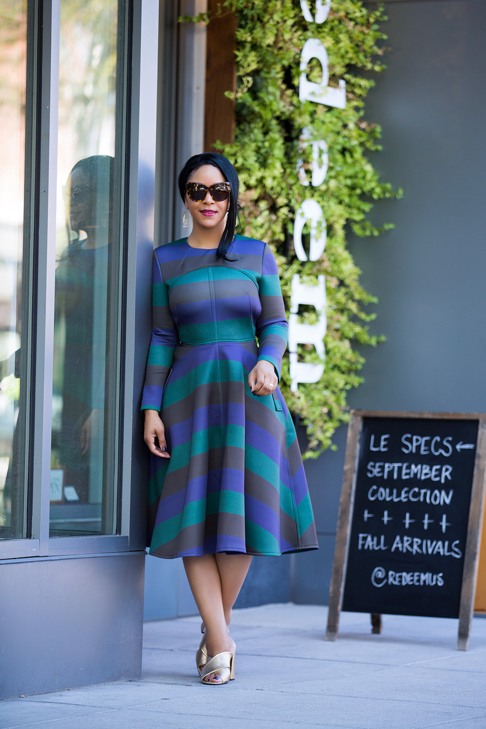 The Mullet Dress - What I'm Wearing: Chicwish Demure Green Striped Open-back Dress, Topshop RIOT Flared gold Mules, House of Harlow 1960 Chelsea Cat Eye Sunglasses in tortoiseshell, Charming Charlie Waved Layer Dangle Earrings