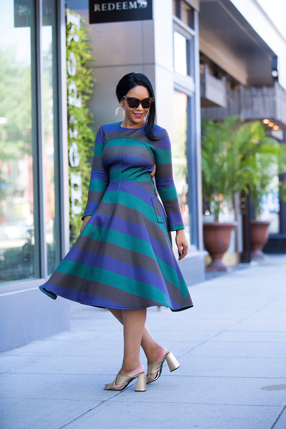 The Mullet Dress - What I'm Wearing: Chichwish Demure Green Striped Open-back Dress, Topshop RIOT Flared gold Mules, House of Harlow 1960 Chelsea Cat Eye Sunglasses in tortoiseshell, Charming Charlie Waved Layer Dangle Earrings