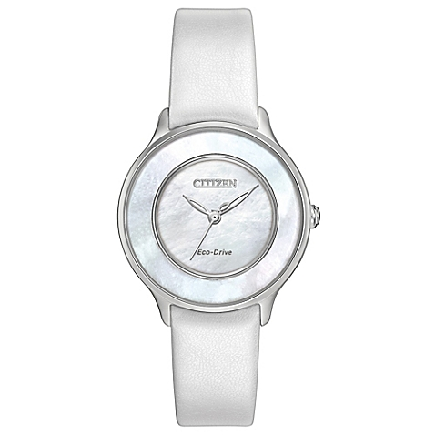 Citizen L Eco-Drive 30mm Circle of Time Mother of Pearl Dial Watch in Stainless Steel w/Leather Strap