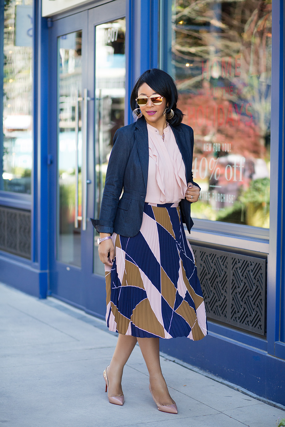 What I'm Wearing: Business Casual With a Kick, zeroUV Two-Toned Split Mirror Sunglasses, Waved Layer Dangle Earrings, Charming Charlie Divine Druzy Necklace OS Rose Gold, 7th Avenue Design Studio Two-Button Jacket - Modern Fit - Grand Sapphire, Ann Taylor Ruffled Shell, Ann Taylor Mosaic Pleated Skirt, Christian Louboutin 'Pigalle Follies' nude Pointy Toe Pump