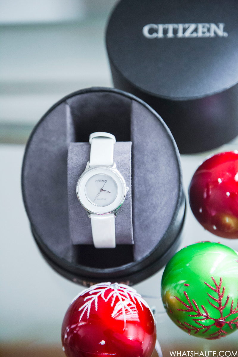 2017 holiday gift idea: Citizen L Eco-Drive 30mm Circle of Time Mother of Pearl Dial Watch in Stainless Steel w/Leather Strap