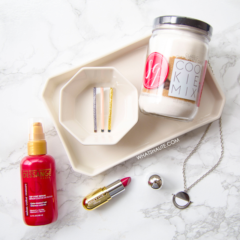 What's Inside the December 2016 POPSUGAR Must Have Box, Odeme Catchall & Ring Dish, Baublebar Snowfall Pendant, Winky Lux Lip Pill in Bunny, Mane Message Date Night Bobby Pins, Sister's Gourmet Baker's Dozen Classic Chocolate Chip Cookie Mix, Dessange Professional Hair Luxury Color Restore Color Protecting Top Coat Serum