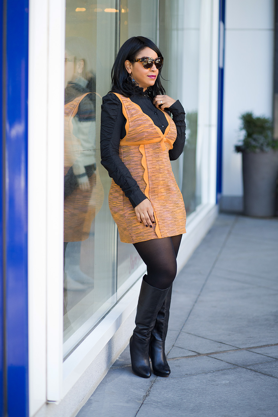 Shopping My Closet, What I'm Wearing, Trench vest from TEN shopping event, M Missoni dress, Knee-high boots
