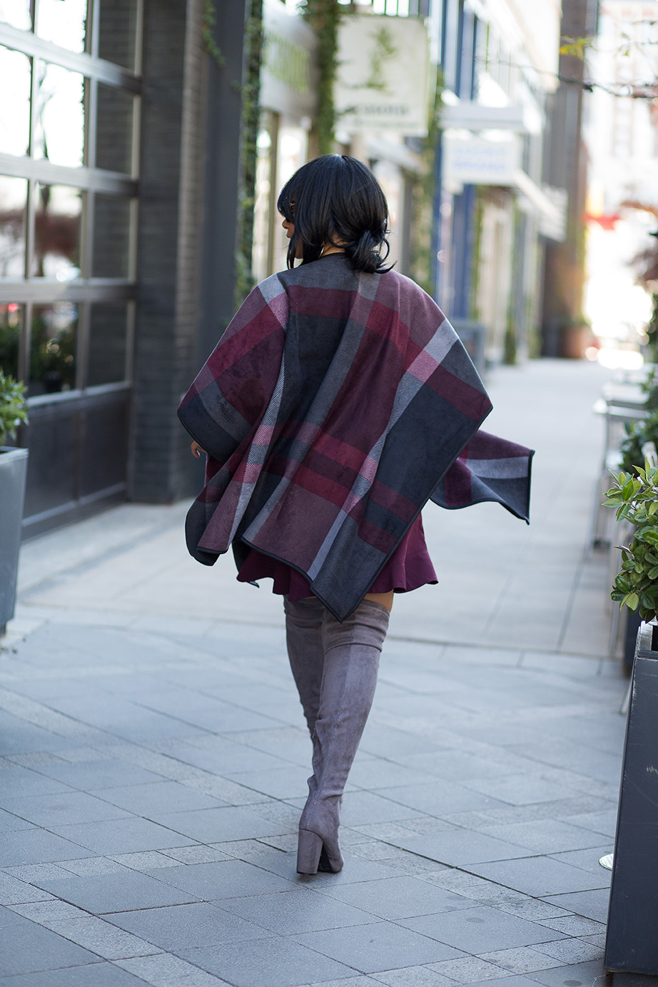A case for capes: Costco wool print cape, Gap Long Sleeve Crew Tee, LOFT skirt, Grey Over the Knee Boots, House of Harlow Chelsea sunglasses, outfit of the day