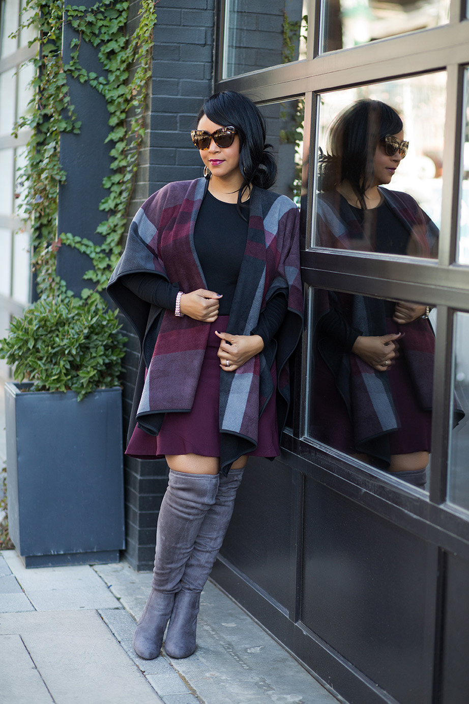 A case for Cold Weather capes: Costco wool print cape, Gap Long Sleeve Crew Tee, LOFT skirt, Grey Over the Knee Boots, House of Harlow Chelsea sunglasses, outfit of the day