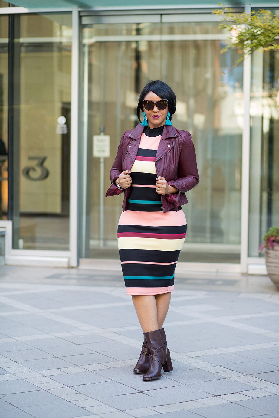 A Casual Valentine's Day - what I'm wearing, ASOS Burgundy Leather Jacket, Belle + Sky™ Sleeveless Striped Scuba Dress JCPenney, Kate Spade boots, H&M tassel earrings, Citizen watch, Valentine's Day outfits, bodycon dress