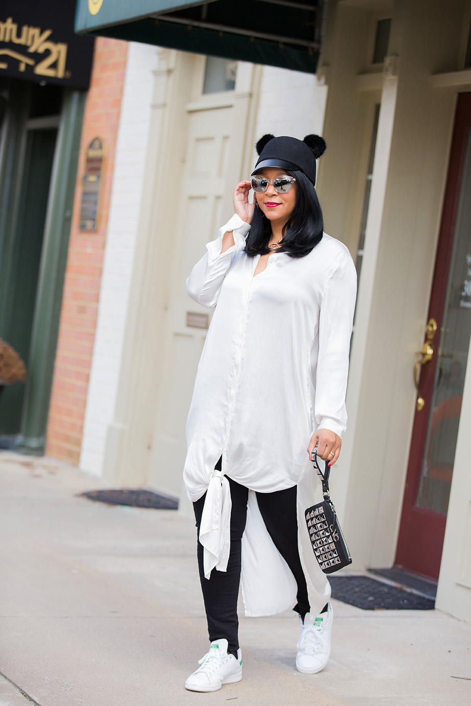 What's Haute Closet: Sometimes you just wanna kick up & kick off your heels: H&M Wool Hat with fur ball cat ears, H&M maxi shirt, adidas Stan Smith sneakers, Topshop Step Hem Jeans, Fishnet Socks, CNC by Costume National Studded Wristlet Clutch, gold leather moto jacket