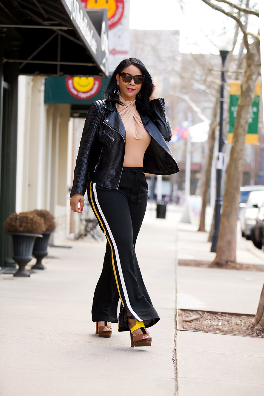What's Haute, What's Haute Closet, A Good Sport - What I'm Wearing: H&M Biker Jacket, H&M Draped Bodysuit, Who What Wear Women's Track Pant with Side Stripe, Jimmy Choo Samos Leather And Wood Platform Sandals, athleisure, athletic style, being a good sport, inspiration