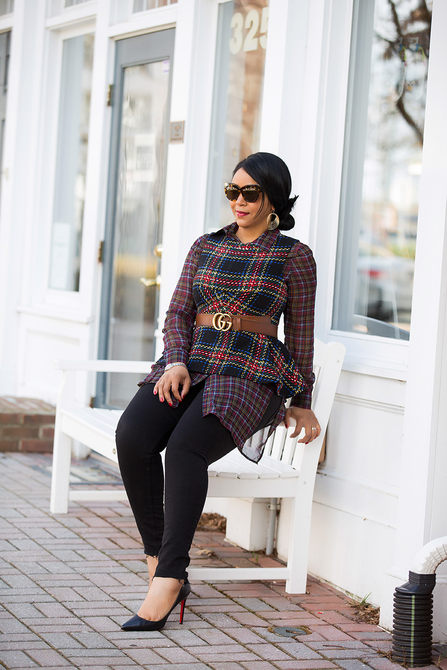 Style in a Cinch: What I'm Wearing - ASOS Tartan Peplum Top, Sheer Plaid Shirt, Gucci Ayers Leather belt with double G buckle, Topshop Step Hem Jeans, Christian Louboutin Pigalle 100 black leather pumps, What's Haute
