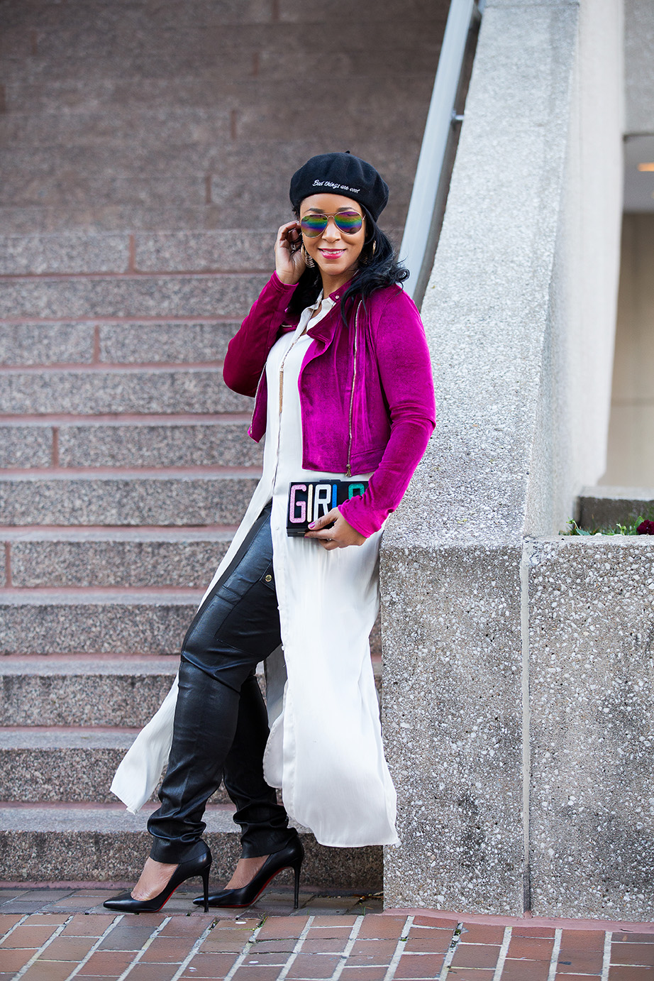 Three Holiday Trends and Gift Ideas For Your Girls: velvet, acrylic, lucite and resin minaudieures and box clutches, Charming Charlie Girls Resin Minaudiere, Agaci Pink Velvet Moto Jacket, Tory Burch Leather Cargo Pants, Christian Louboutin Pigalle Pumps, H&M Long Blouse, Bershka  Beret with embroidered slogan, Bad things are cool, Forever 21 rainbow aviator sunglasses