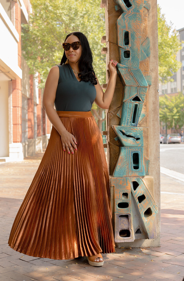 Party Skirts for Every Occasion, What I'm Wearing: Philosophy Apparel top, New York & Company Pleated Maxi Skirt - Copper, Steve Madden Jaylen Wedge Sandal - Cognac Suede/Leather, What's Haute, Holiday Party Skirts