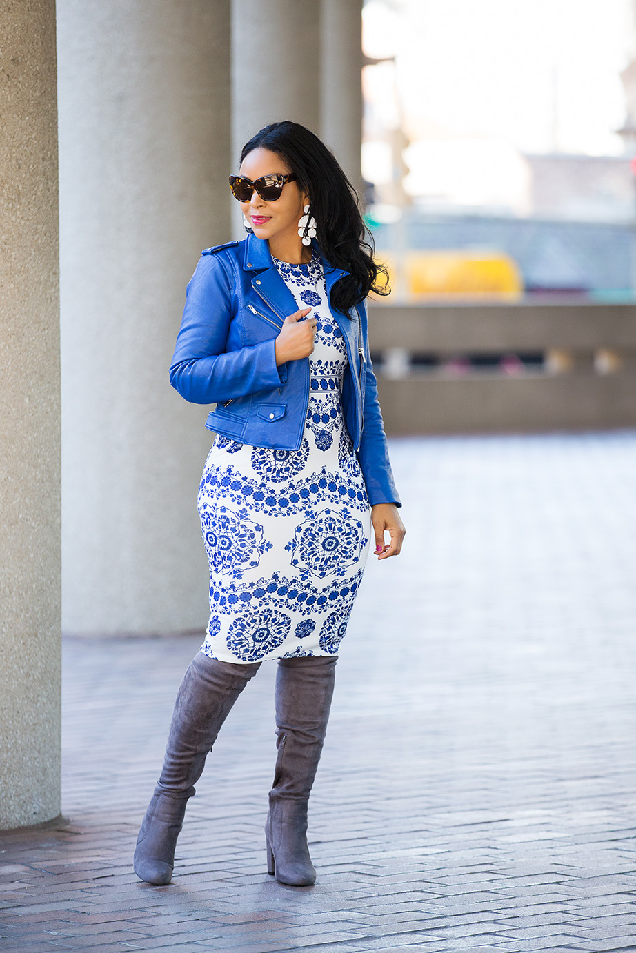 A Cure for Those Winter Blues: Wearing Zara Blue Faux Leather Biker Jacket, SHEIN Porcelain Print Pencil Dress, Forever 21 Grey Suede Over the knee boots, Jack Rabbit Easy Rider Hobo, What's Haute