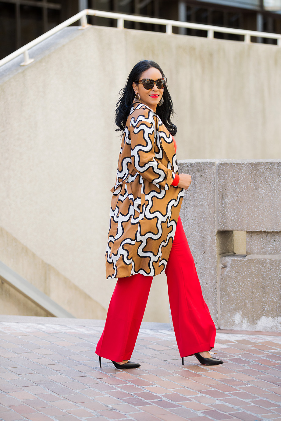 Four Ways to Tackle Mondays Like a Boss / What I'm Wearing: DvF Squiggle Print Trench coat, orange H&M Bodysuit, red H&M Suit Pants, Christian Louboutin Pigalle Pumps
