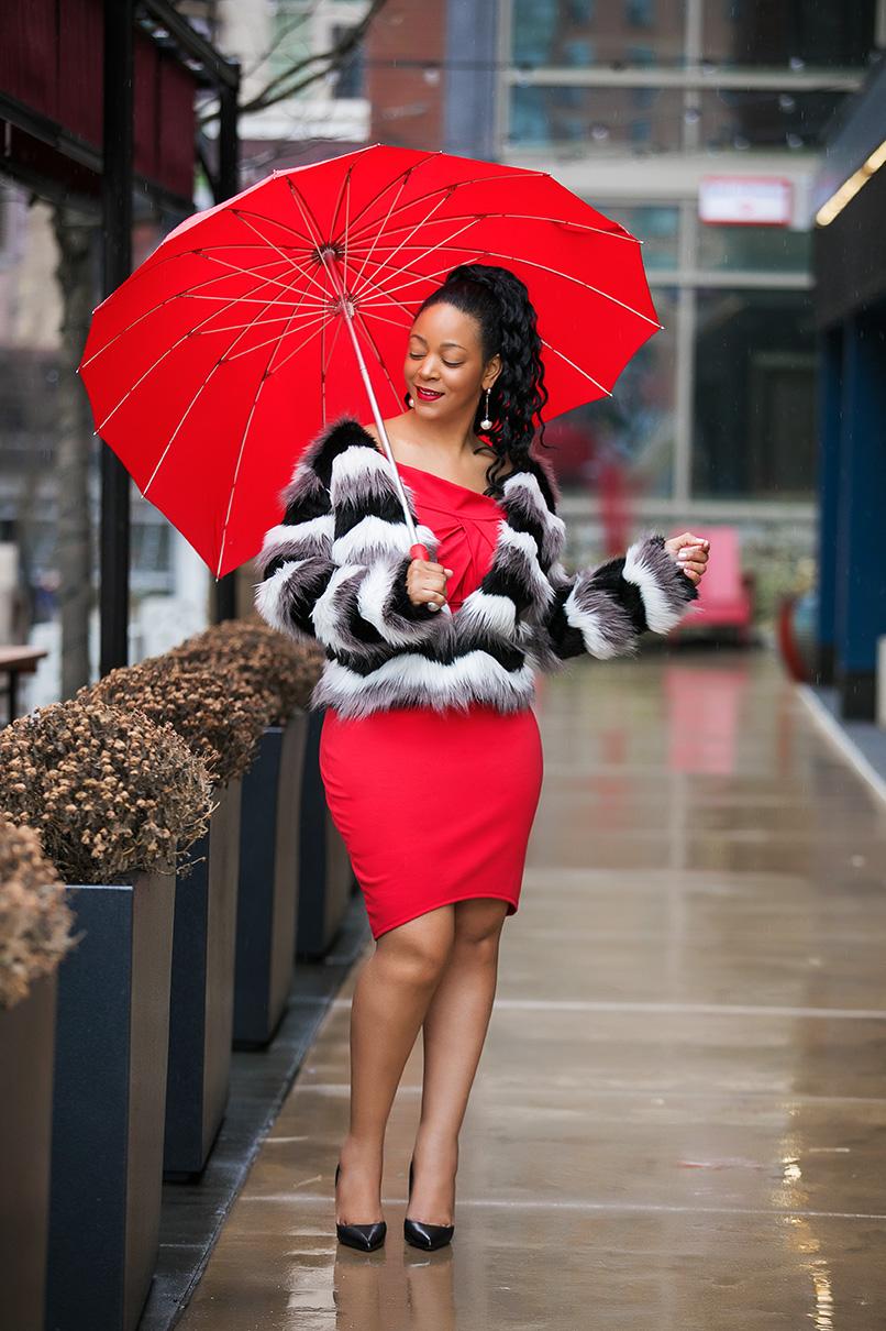 Happy Valentine's Day; Valentine's Day date night outfit ideas, Monochrome Chevron Open Front Faux Fur Coat, ShoeDazzle Off Shoulder Body Con red Dress, Uncommon Goods Crimson Heart Umbrella, Christian Louboutin Pigalle Leather Pumps