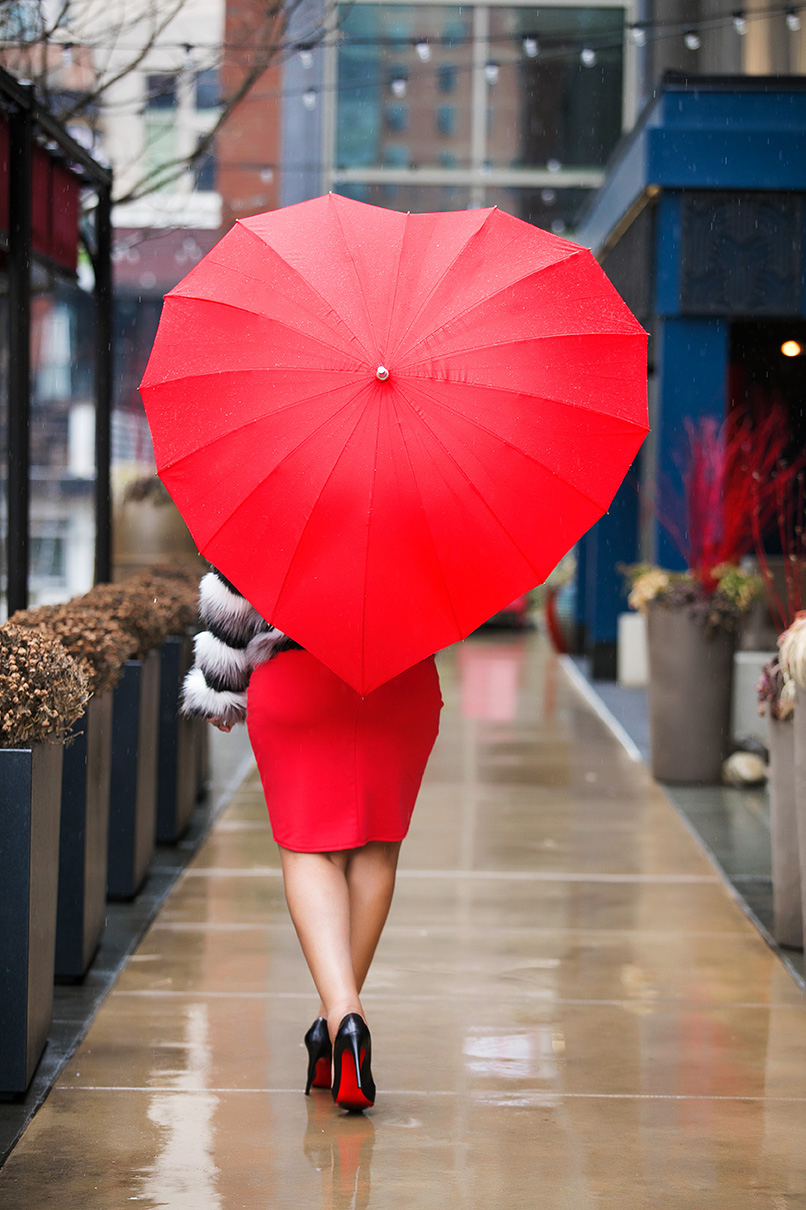 Happy Valentine's Day; Valentine's Day date night outfit ideas, Monochrome Chevron Open Front Faux Fur Coat, ShoeDazzle Off Shoulder Body Con red Dress, Uncommon Goods Crimson Heart Umbrella, Christian Louboutin Pigalle Leather Pumps