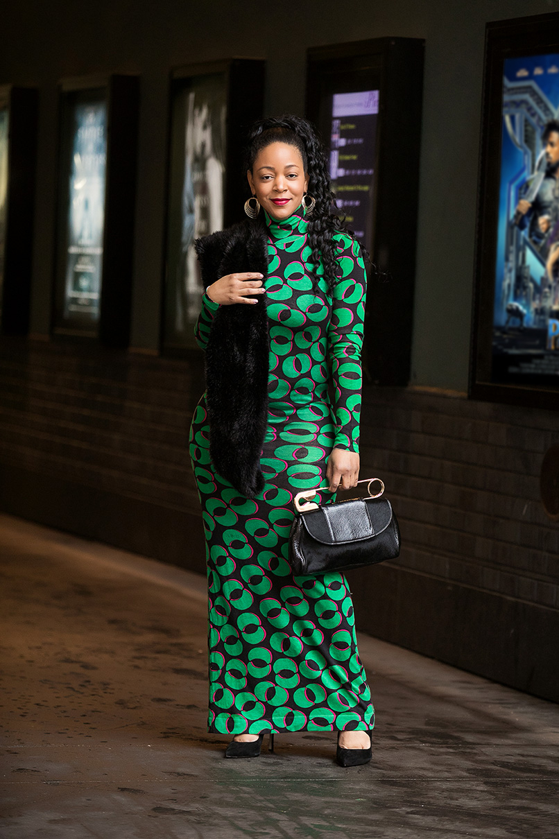 What I'm Wearing to see Black Panther: DvF print Floor-Length Fitted Dress with turtleneck, BCBGeneration Pailie Pumps, Bodhi Safety Pin clutch, Zara faux fur scarf, going to Wakanda fashion and style