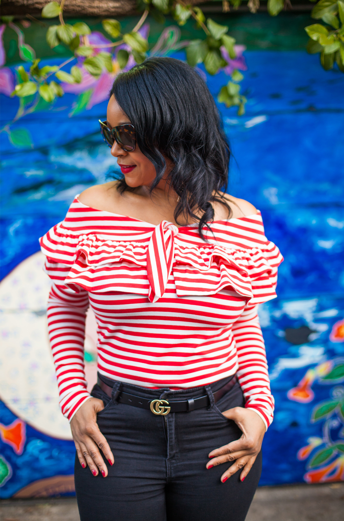 What's Your Mission? (Outfit details: H&M off-the-shoulder top in red & white stripe / Forever 21 High-Waisted Skinny Jeans / Gucci belt / Kiltie Nine West Govern d'Orsay Loafers) - Mission District, San Francisco