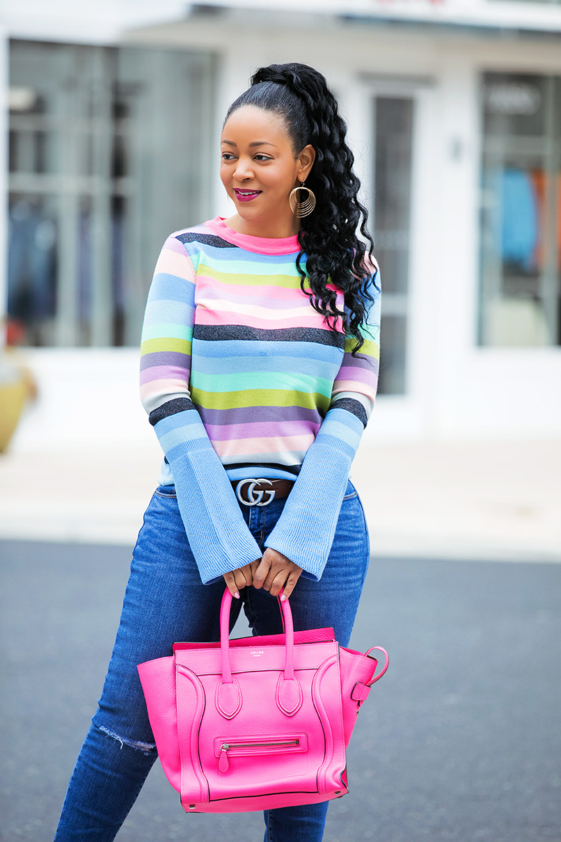 What's Haute outfit of the day: ASOS Sweater with Multi Stripe and Fluted Sleeves (and pastel rainbow stripes), Mossimo Light Wash Curvy Skinny Jeans with Knee Slits & Uneven Raw Hem, Gucci GG Marmont leather belt, Banana Republic Womens Madison 12-Hour Pump in Blue Suede, Celine Leather Luggage Nano bag in fluoro pink, rainbow days