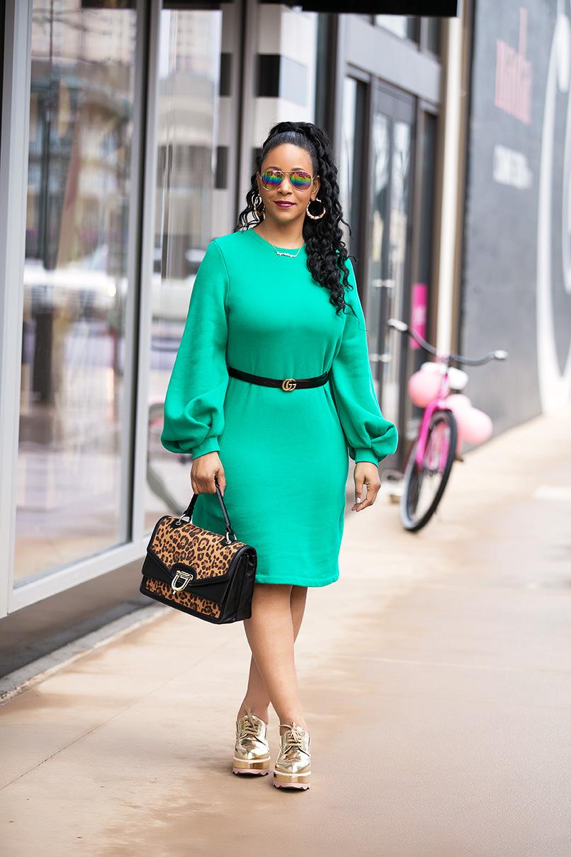 "17 again: What I'm Wearing: Mossimo™ Green Women's Balloon Sleeve Sweatshirt Dress, Gucci belt, KFC Ltd. ""Finger Lickin' Good"" nameplate necklace, gold bamboo hoop earrings, Prada leather platform Oxford brogues, Leopard satchel"