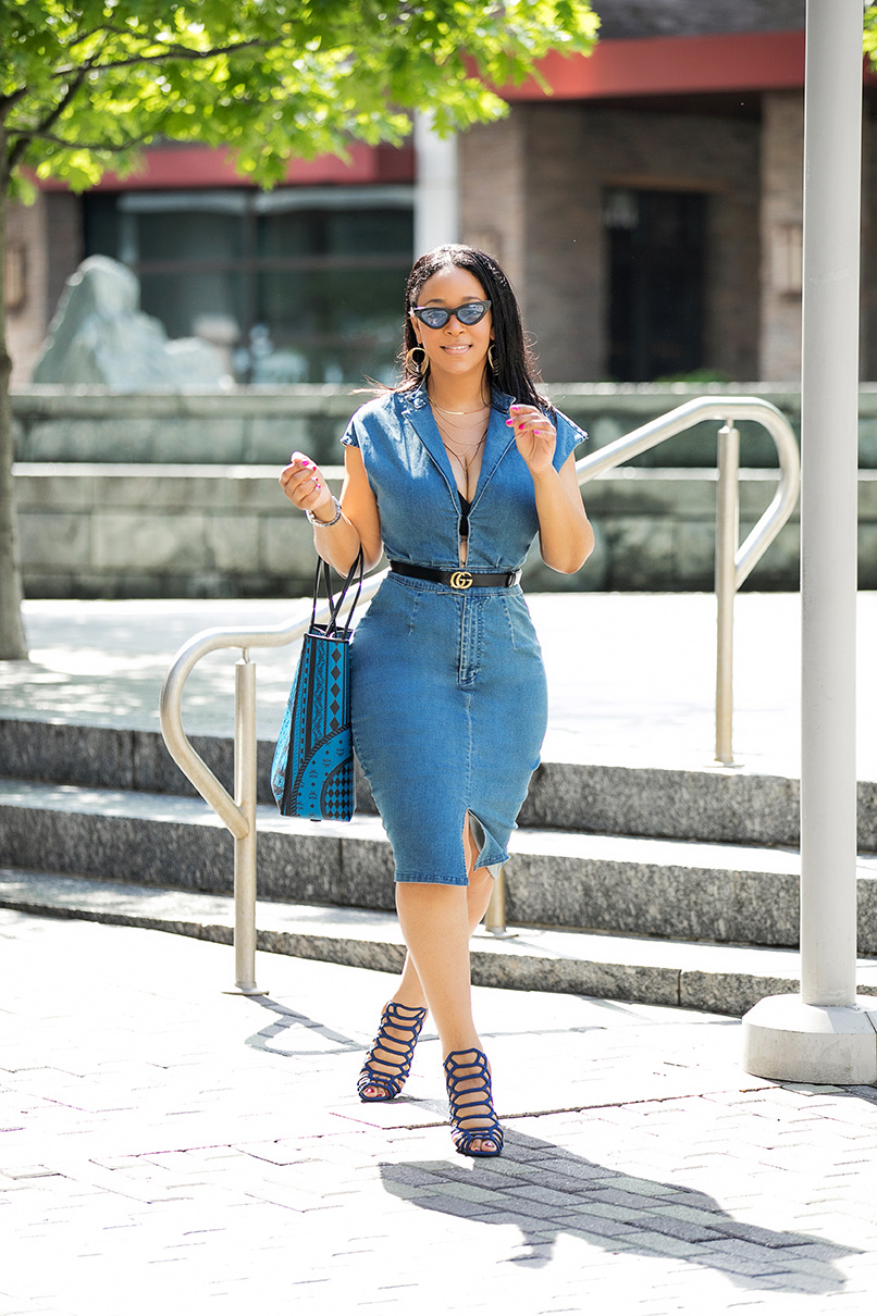 The Only Denim Dress You'll Need, What I'm Wearing, The denim dress of the summer, Alexia Admor Denim Sheath Dress, Gucci belt, MCM Limonta Baroque Kira Shopper bag, New York & Company Cage sandals, tiny Cat eye sunglasses, trends, What's Haute