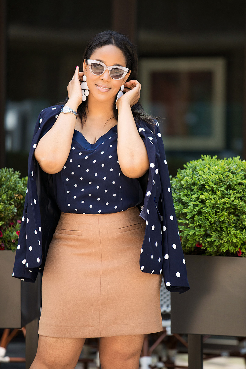 What to Wear to Work in the Summer: Banana Republic polka dot blazer and cami combo, Marble frame sunglasses, H&M A-line skirt, Chanel cap toe pumps