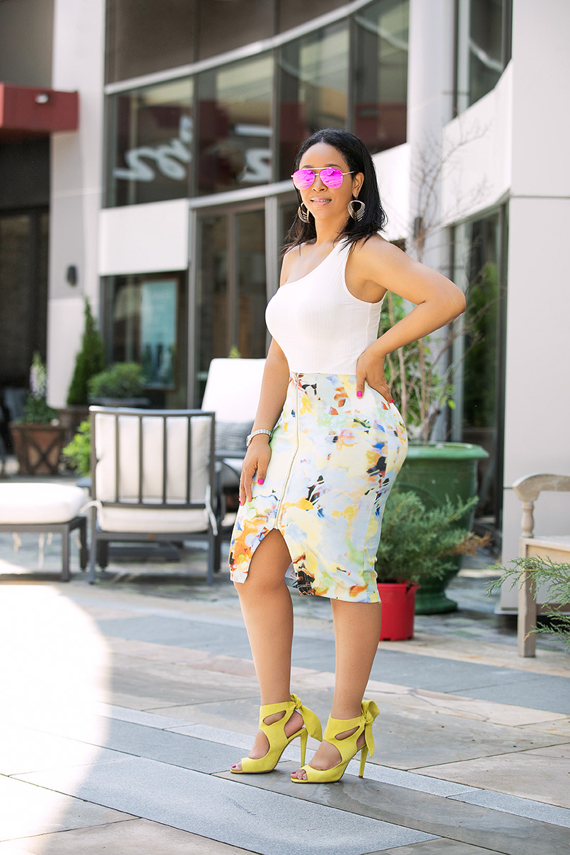 3 Keys to a Lit Life, What I'm wearing: H&M one-shoulder top, watercolor scuba bodycon skirt, Zara yellow leather moto jacket, citron yellow suede bow sandals