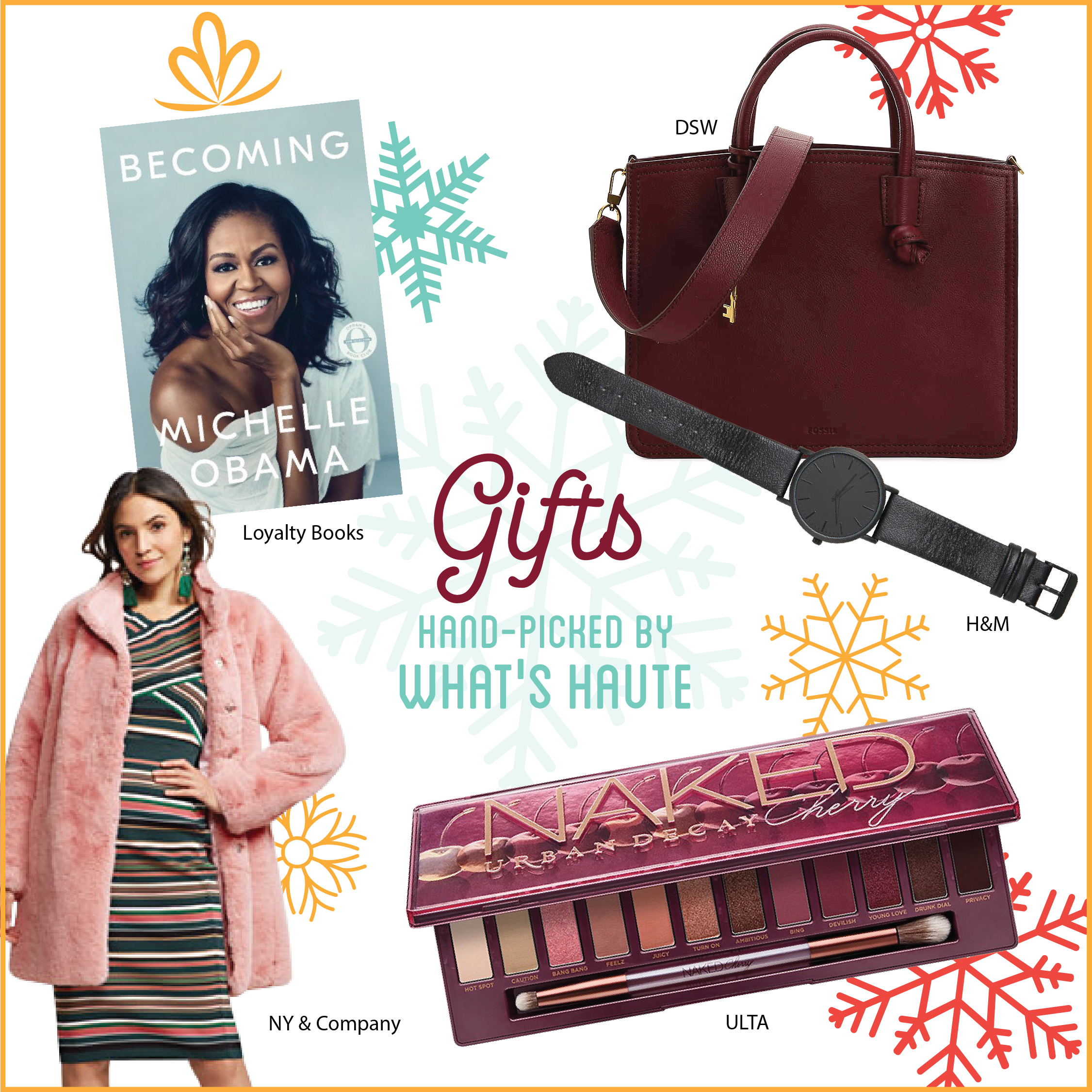 What's Haute Holiday Gift Guide and Giveaway with Downtown Silver Spring, Becoming by Michelle Obama (available at Loyalty Books), Urban Decay Naked Cherry Eyeshadow palette (available at Ulta), Watch with Leather Band (available at H&M), Faux-Fur Coat (available at New York & Co), Fossil Skylar Leather Satchel (available at DSW)