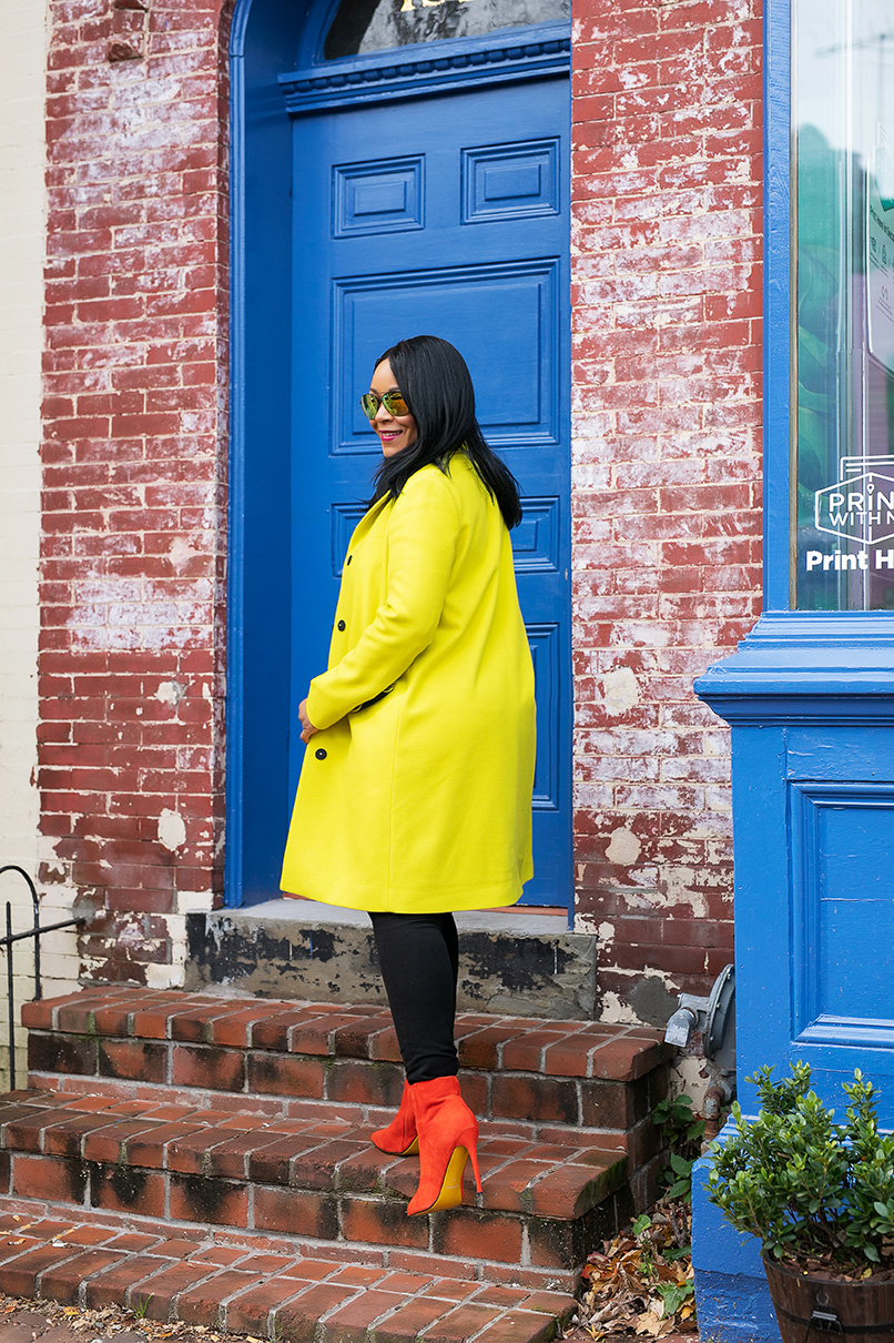 Wearing: Forever 21 Aviator Sunglasses, MSGM Coat, Love Moschino Pop Art Umbrella, Gucci Belt, H&M Pants, Red Suede Boots
