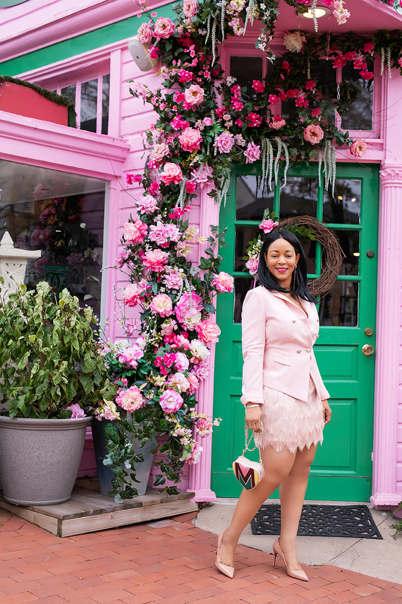 Keeping the Faith, What I'm Wearing: Pink blazer, pink BCBGMAXAZRIA Modie Tiered Fringe Skirt, Christian Louboutin Pigalle pumps, Maje heart belt bag