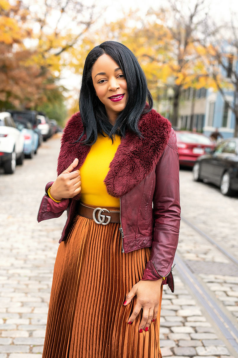 Happiness Looks Good on me, What I'm Wearing : Oxblood Leather Jacket,  Faux Fur Scarf, Torn by Ronny Kobo Mustard Yellow Peplum Top, Gucci Marmont Leather belt with Double G buckle,  NY & Company Metallic Pleated Maxi Skirt,  Gap Tall Slouchy Suede Boots