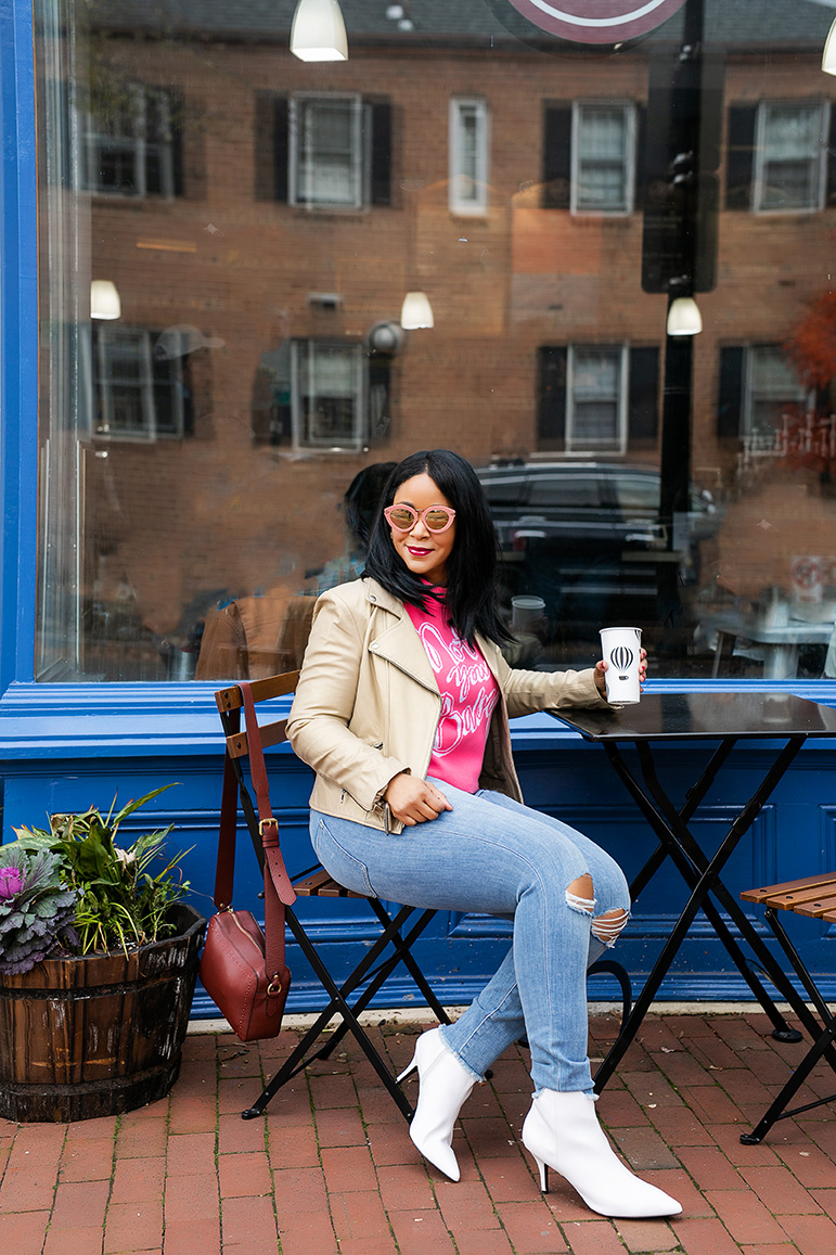 """What I'm Wearing: Karen Walker Super Lunar Round Pink Monochromatic Sunglasses, H&M """"Not Your Baby"""" Jacquard-knit Sweater, Banana Republic Girlfriend Jeans, Cole Haan Harlow Camera Bag, Charlotte Russe Faux Leather Ankle Booties, 10 Favorite Top Coffee Shops"""