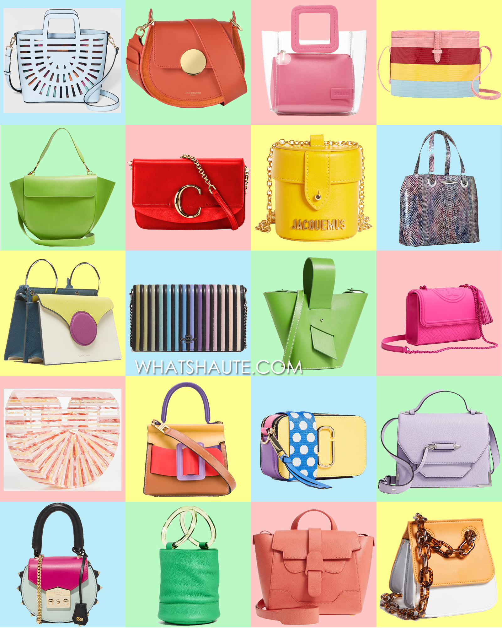 20 Colorful Handbags to Get a Jumpstart on your 2019 Spring Shopping, Laser Cut Tote Handbag - A New Day™, Le Parmentier Yucca Suede and Leather Shoulder Bag, Staud Mini Shirley Leather Bag, Hunting Season For Carolina Herrera, Wandler Hortensia Trapeze leather bag, Chloe C Shiny & Suede Calfskin Clutch With Chain, JACQUEMUS Le Vanity Leather Bag, Ella McHugh Nathalie Candy, Danse Lente Mini Phoebe Leather Bag, COACH Callie Ombré Quilting Leather Clutch, Carolina Santo Domingo Amphora Mini Adjustable Crossbody Bag, Tory Burch Fleming Matte Small Convertible Shoulder Bag, Cult Gaia Acrylic Ark Small Bag, BOYY Karl bag, Marc Jacobs Snapshot Camera Bag, Mackage Keeley Leather Satchel, Salar Mimi Mini Cross Body Bag, Simon Miller Bonsai Bag, SENREVE Mini Maestra Leather Satchel, Studio 33 Woke Shoulder Flap