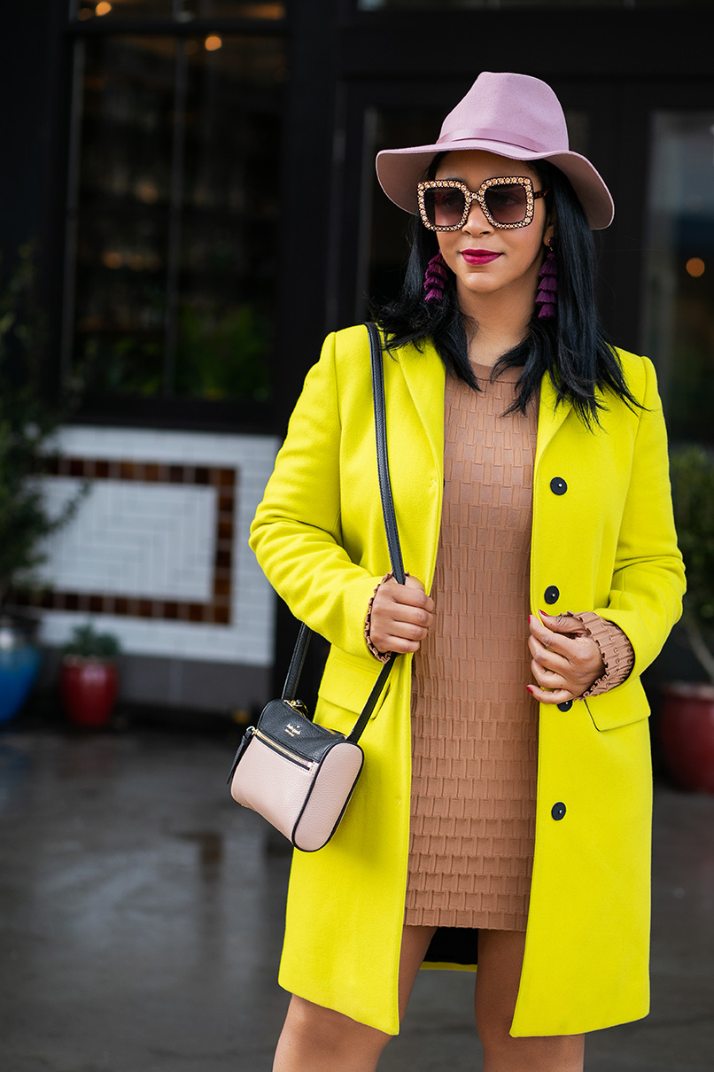 What's Haute, What I'm Wearing, Oversized Sunglasses for Women Square Thick Frame Bling Rhinestone Shades, Gap wool fedora, MSGM coat, H&M dress, Valentino Rockstud printed heels, Kate Spade crossbody bag, Outfit of the day, Neon trend, Neon and Neutrals