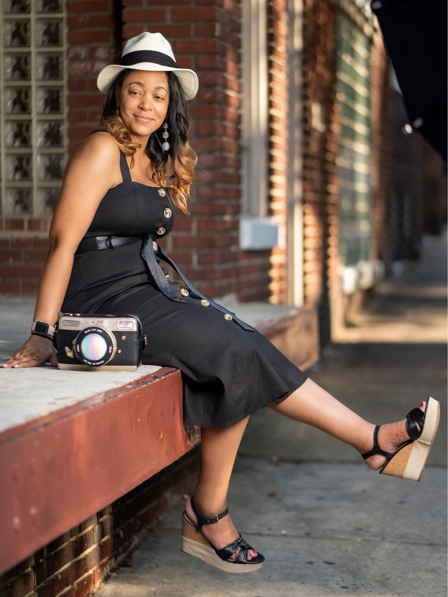 Haute Girl / Hot Girl Summer, Black linen button up dress and Aldo camera bag, Tenth Street Hats Quito