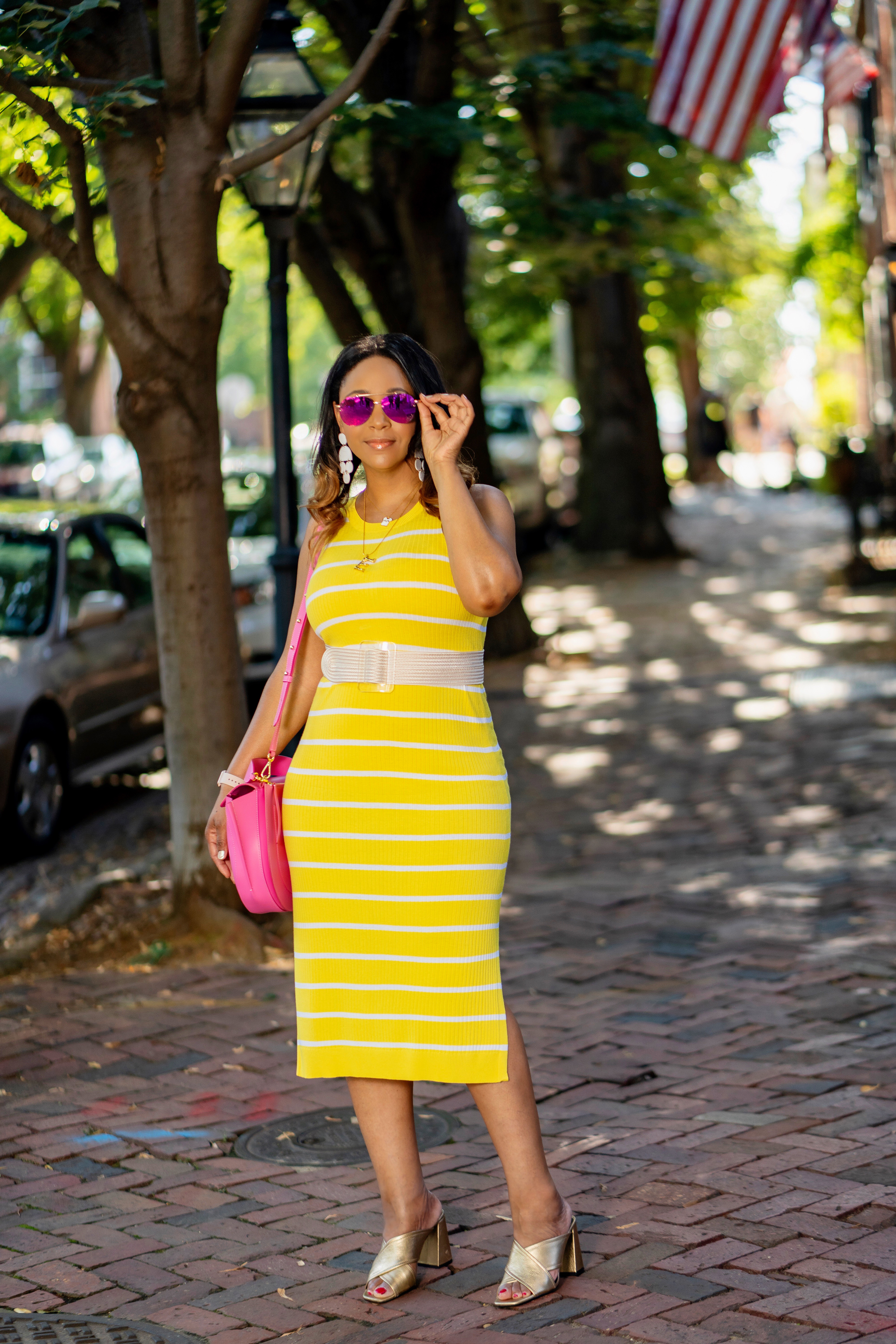 Falling Out of Love with Shopping + my Shopping Diet, Yellow and white Banana Republic Stripe Knit Dress, pink Wandler Hortensia Leather Shoulder Bag, Topshop Gold Mules