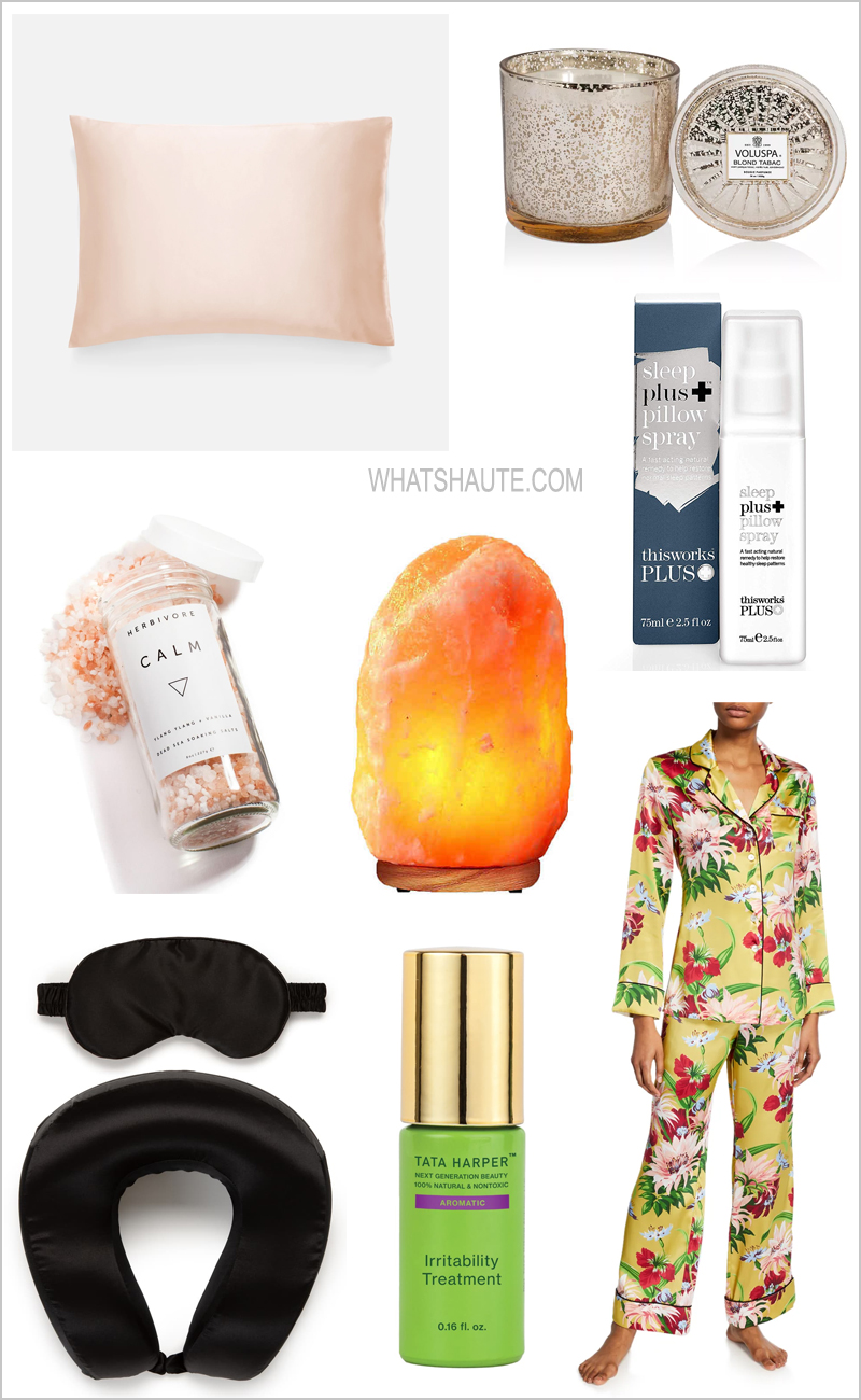2019 Holiday Gift Guide for Self-Care and Relaxation - Casper Mattress, Casper Weighted Blanket, Olivia Von Halle's Lila Havana Floral Classic Two-Piece PJ Set, Brooklinen Mulberry Silk Pillowcases, Tata Harper's Aromatic Irritability Treatment, this works Deep Sleep Pillow Spray, Ulta, Calpak Silk Travel Neck Pillow and Eye Mask Set, Himalayan Salt Lamps, Bed Bath and Beyond, Herbivore Botanicals Soaking Salts in Calm, David's Tea Sweet Indulgence 12 Tea Sampler, Matching Christmas Family Flannel Pajamas, Land's End, Turkish cotton, Brooklinen Super-Plush Robe, Muse: The Brain Sensing Headband, Daily Harvest frozen smoothies, Voluspa Maison Candles, Anthropologie, Smoko Toasty Heatable Plushies, Urban Outfitters, Muji's Portable Aroma Diffuser, Pratt Daddy Crystals, Heidi Montag, Spencer Pratt, The Hills