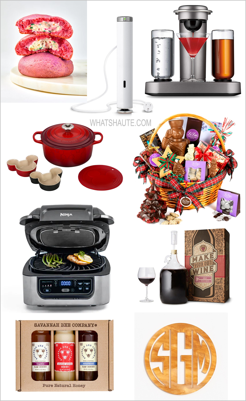 2019 Holiday Gift Guide: Foodie Gifts, Holiday gift guide, Foodies, Foodie gifts, Kitchen tools, Sweet treats, Savory treats, Hexclad Hybrid Nonstick Commercial Cookware 7-piece set, Bartesian Premium Cocktail and Margarita Machine, Disney, Le Crueset's 5 piece Mickey Mouse Set, Dutch Oven, Williams Sonoma Olive Crate, Harry & David Classic Christmas Gift Basket, Ninja Foodi 5-in-1 Indoor Grill, Duo Instant Pot 6qt 7-in-1 Multi Use Cooker, Blonde Tortoise Laser Cut Monogram Coasters, Paper Source, Jerky,  People's Choice Jerky, Material Kitchen Iconics Kitchen Set, Joule Sous Vide, Williams-Sonoma Original Peppermint Bark, white chocolate peppermint bark, Williams-Sonoma, Merlot Wine Making Kit, Uncommon Goods, cooking classes, Sur La Table, Mast Brothers Chocolate Bar, Food52 Small-Batch Quarterly Hot Sauce Subscription, Food52, Duchess Cookies, Li-Lac Chocolates Spectacular Christmas Basket, Peppermint bark, chocolate, The International Cheese Assortment, Ideal Cheese Shop, Goldbelly, Savannah Bee Company Seasons Best 12 oz gift set